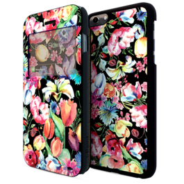 IPAINT - Doble Funda - Flores Negra iPhone 6 Plus